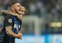MILAN, ITALY - SEPTEMBER 18: Mauro Emanuel Icardi (front) of FC Internazionale celebrates his goal with his team-mate Radja Nainggolan during the Group B match of the UEFA Champions League between FC Internazionale and Tottenham Hotspur at San Siro Stadium on September 18, 2018 in Milan, Italy. (Photo by Emilio Andreoli/Getty Images)