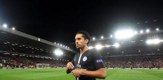 LIVERPOOL, ENGLAND - SEPTEMBER 18: Marquinhos of Paris Saint-Germain looks on prior to the Group C match of the UEFA Champions League between Liverpool and Paris Saint-Germain at Anfield on September 18, 2018 in Liverpool, United Kingdom. (Photo by Michael Regan/Getty Images)