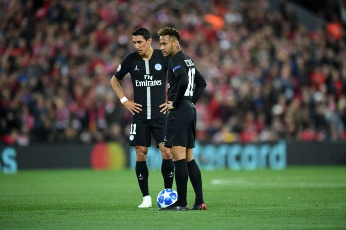 LIVERPOOL, ENGLAND - SEPTEMBER 18: Neymar and Angel Di Maria of Paris Saint-Germain prepare to kick-off after conceding the first goal during the Group C match of the UEFA Champions League between Liverpool and Paris Saint-Germain at Anfield on September 18, 2018 in Liverpool, United Kingdom. (Photo by Michael Regan/Getty Images)