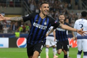 MILAN, ITALY - SEPTEMBER 18: Matias Vecino of FC Internazionale celebrates his goal during the Group B match of the UEFA Champions League between FC Internazionale and Tottenham Hotspur at San Siro Stadium on September 18, 2018 in Milan, Italy. (Photo by Emilio Andreoli/Getty Images)