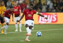 BERN, SWITZERLAND - SEPTEMBER 19: Paul Pogba of Manchester United scores the second goal for Manchester during the Group H match of the UEFA Champions League between BSC Young Boys and Manchester United at Stade de Suisse, Wankdorf on September 19, 2018 in Bern, Switzerland. (Photo by Christian Kaspar-Bartke/Getty Images)