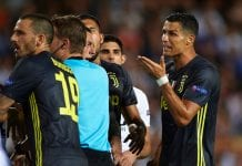 VALENCIA, SPAIN - SEPTEMBER 19: Cristiano Ronaldo of Juventus reacts after his red card during the Group H match of the UEFA Champions League between Valencia and Juventus at Estadio Mestalla on September 19, 2018 in Valencia, Spain. (Photo by Manuel Queimadelos Alonso/Getty Images)