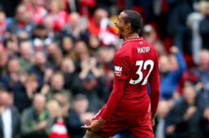 LIVERPOOL, ENGLAND - SEPTEMBER 22: Joel Matip of Liverpool celebrates after scoring his team's second goal during the Premier League match between Liverpool FC and Southampton FC at Anfield on September 22, 2018 in Liverpool, United Kingdom. (Photo by Alex Livesey/Getty Images)