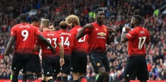 MANCHESTER, ENGLAND - SEPTEMBER 22: Fred of Manchester United celebrates with teammate Paul Pogba after scoring his team's first goal during the Premier League match between Manchester United and Wolverhampton Wanderers at Old Trafford on September 22, 2018 in Manchester, United Kingdom. (Photo by Matthew Lewis/Getty Images)