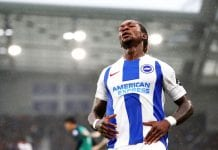 BRIGHTON, ENGLAND - SEPTEMBER 22: Gaetan Bong of Brighton and Hove Albion reacts during the Premier League match between Brighton & Hove Albion and Tottenham Hotspur at American Express Community Stadium on September 22, 2018 in Brighton, United Kingdom. (Photo by Dan Istitene/Getty Images)