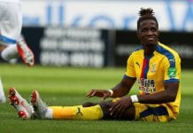 HUDDERSFIELD, ENGLAND - SEPTEMBER 15: Wilfried Zaha of Crystal Palace during the Premier League match between Huddersfield Town and Crystal Palace at John Smith's Stadium on September 15, 2018 in Huddersfield, United Kingdom. (Photo by Mark Robinson/Getty Images)
