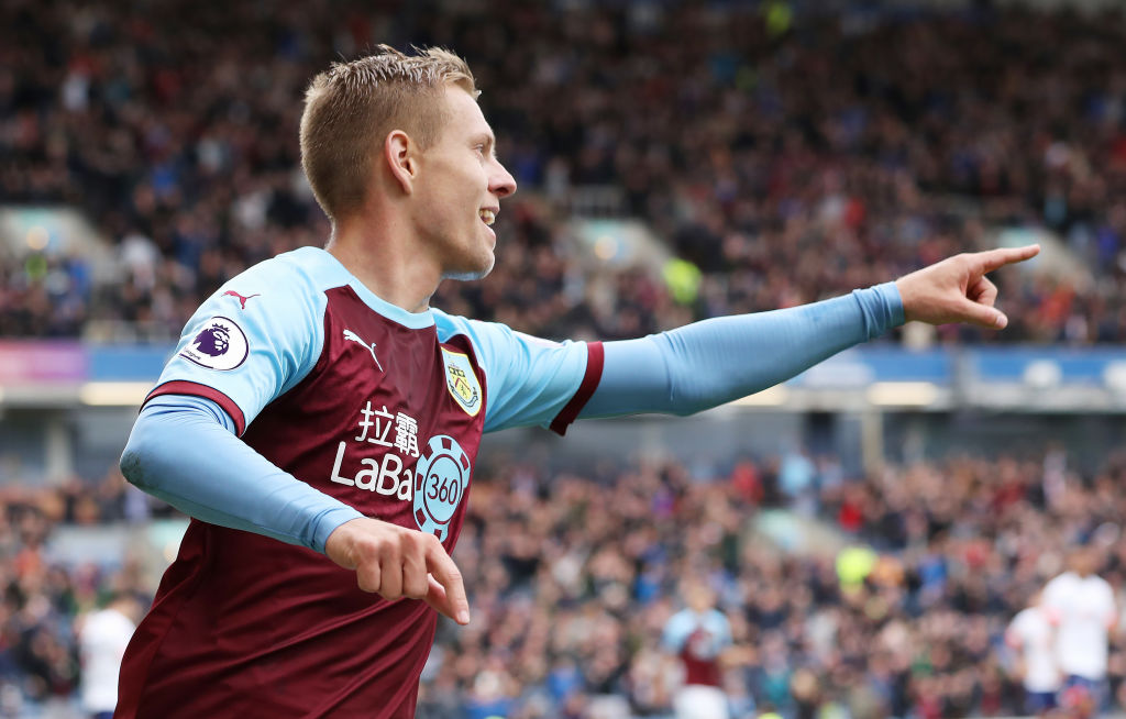 BURNLEY, ENGLAND - SEPTEMBER 22: Matej Vydra of Burnley celebrates after he scores the opening goal during the Premier League match between Burnley FC and AFC Bournemouth at Turf Moor on September 22, 2018 in Burnley, United Kingdom. (Photo by Ian MacNicol/Getty Images)