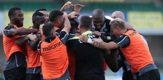 VERONA, ITALY - SEPTEMBER 23: Rodrigo De Paul of Udinese Calcio celebrates with his team-mates after scoring the opening goal during the serie A match between Chievo Verona and Udinese at Stadio Marc'Antonio Bentegodi on September 23, 2018 in Verona, Italy. (Photo by Emilio Andreoli/Getty Images)