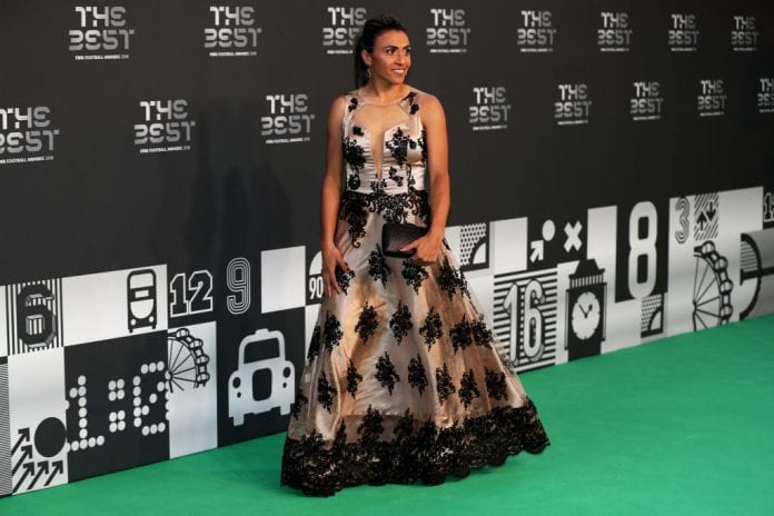 LONDON, ENGLAND - SEPTEMBER 24: Marta Vieira da Silva of Brazil arrives on the Green Carpet ahead of The Best FIFA Football Awards at Royal Festival Hall on September 24, 2018 in London, England. (Photo by Dan Istitene/Getty Images)