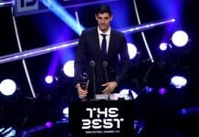 LONDON, ENGLAND - SEPTEMBER 24: Thibaut Courtois of Real Madrid receives the trophy for The Best FIFA Goalkeeper 2018 during the The Best FIFA Football Awards Show at Royal Festival Hall on September 24, 2018 in London, England. (Photo by Dan Istitene/Getty Images)