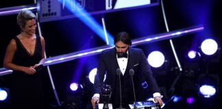 LONDON, ENGLAND - SEPTEMBER 24: Lyon Women's Manager, Reynald Pedros receives the trophy for The Best FIFA Women's Coach 2018 during the The Best FIFA Football Awards Show at Royal Festival Hall on September 24, 2018 in London, England. (Photo by Dan Istitene/Getty Images)
