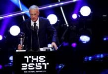 LONDON, ENGLAND - SEPTEMBER 24: Didier Deschamps, Manager of France receives the trophy for The Best FIFA Men's Coach 2018 during the The Best FIFA Football Awards Show at Royal Festival Hall on September 24, 2018 in London, England. (Photo by Dan Istitene/Getty Images)