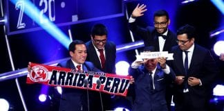 LONDON, ENGLAND - SEPTEMBER 24: Representatives of Peru fans speak after receiving the FIFA Fan Award 2018 during the The Best FIFA Football Awards Show at Royal Festival Hall on September 24, 2018 in London, England. (Photo by Dan Istitene/Getty Images)