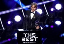 LONDON, ENGLAND - SEPTEMBER 24: Luka Modric of Real Madrid receives the trophy for The Best FIFA Men's Player 2018 during the The Best FIFA Football Awards Show at Royal Festival Hall on September 24, 2018 in London, England. (Photo by Dan Istitene/Getty Images)
