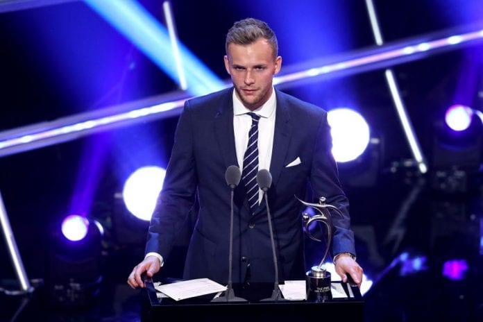 LONDON, ENGLAND - SEPTEMBER 24: Lennart Thy of Buyuksehir Belediye Erzurumspor receives the FIFA Fair Play Award 2018 during the The Best FIFA Football Awards Show at Royal Festival Hall on September 24, 2018 in London, England. (Photo by Dan Istitene/Getty Images)