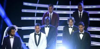 LONDON, ENGLAND - SEPTEMBER 24: Marcelo of Real Madrid, Sergio Ramos of Real Madrid; N'Golo Kante of Chelsea. Eden Hazard of Chelsea, Luka Modric of Real Madrid, Kylian Mbappe of PSG and Raphael Verane of Real Madrid are presented as part of the FIFA FIFPro World11 Award 2018 during the The Best FIFA Football Awards Show at Royal Festival Hall on September 24, 2018 in London, England. (Photo by Dan Istitene/Getty Images)