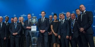 NYON, SWITZERLAND - SEPTEMBER 27: The German delegation poses with the slip and the trophy after the UEFA EURO 2024 Host Announcement Ceremony on September 27, 2018 in Nyon, Switzerland. (Photo by Robert Hradil/Bongarts/Getty Images)