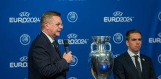 NYON, SWITZERLAND - SEPTEMBER 27: Reinhand Grindel, DFB president gives a speech after winning the bid for EURO 2024 during the UEFA EURO 2024 Host Announcement Ceremony on September 27, 2018 in Nyon, Switzerland. (Photo by Robert Hradil/Bongarts/Getty Images)