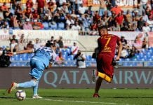 ROME, ITALY - SEPTEMBER 29: Lorenzo Pellegrini of AS Roma scores the opening goal during the Serie A match between AS Roma and SS Lazio at Stadio Olimpico on September 29, 2018 in Rome, Italy. (Photo by Paolo Bruno/Getty Images)