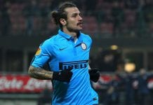 MILAN, ITALY - NOVEMBER 27: Pablo Daniel Osvaldo of FC Internazionale Milano celebrates his goal during the UEFA Europa League Group F match between FC Internazionale Milano and FC Dnipro Dnipropetrovsk on November 27, 2014 in Milan, Italy. (Photo by Marco Luzzani/Getty Images)