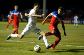 SARASOTA, FL - NOVEMBER 28: Nathan Holland #7 of England attempts to shoot past Josh Perez #11 of the United States during the Nike International Friendlies at The Premier Sports Campus at Lakewood Ranch on November 28, 2014 in Sarasota, Florida. (Photo by Mike Carlson/Getty Images)