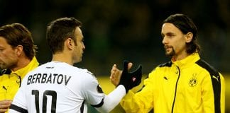 DORTMUND, GERMANY - DECEMBER 10: (L-R) Dimitar Berbatov of PAOK FC shake hands with Neven Subotic of Dortmund during the UEFA Europa League group C match between Borussia Dortmund and PAOK FC at Signal Iduna Park on December 10, 2015 in Dortmund, Germany. (Photo by Christof Koepsel/Bongarts/Getty Images)