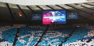 GLASGOW, SCOTLAND - OCTOBER 23: Rangers supporters unveil a mosaque displaying the club crest ahead of the Betfred Cup Semi-Final match between Rangers and Celtic at Hampden Park on October 23, 2016 in Glasgow, Scotland. (Photo by Michael Steele/Getty Images)