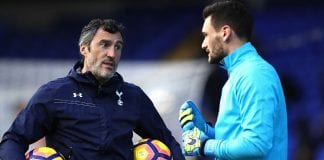 LONDON, ENGLAND - DECEMBER 03: Tottenham Hotspur goal keeper coach Toni Jimenez (L) talks to Hugo Lloris (R) during the warm up prior to the Premier League match between Tottenham Hotspur and Swansea City at White Hart Lane on December 3, 2016 in London, England. (Photo by Julian Finney/Getty Images)