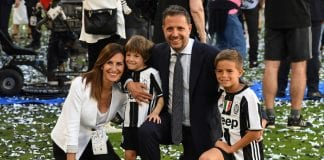 TURIN, ITALY - MAY 21: Fabio Paratici of Juventus FC celebrate with the family after the beating FC Crotone 3-0 to win the Serie A Championships at the end of the Serie A match between Juventus FC and FC Crotone at Juventus Stadium on May 21, 2017 in Turin, Italy. (Photo by Valerio Pennicino/Getty Images)