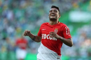 LISBON, PORTUGAL - JULY 22: Monaco midfielder Rony Lopes from Portugal celebrates scoring a goal that the referee invalid during the Friendly match between Sporting CP and AS Monaco at Estadio Jose Alvalade on July 22, 2017 in Lisbon, Portugal. (Photo by Carlos Rodrigues/Getty Images)