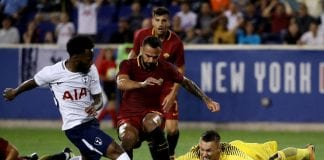 HARRISON, NJ - JULY 25: Lukasz Skorupski #28 of Roma stops a shot by Georges-Kevin Nkoudou #14 of Tottenham Hotspur but is unable to stop the rebound as Harry Winks of Tottenham Hotspur scored on the play during the International Champions Cup on July 25, 2017 at Red Bull Arena in Harrison, New Jersey. (Photo by Elsa/Getty Images)