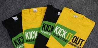 NORTHAMPTON, ENGLAND - NOVEMBER 18: Tee Shirts for the Kick it Out Campaign are laid out prior to the Sky Bet League One match between Northampton Town and Scunthorpe United at Sixfields on November 18, 2017 in Northampton, England. (Photo by Pete Norton/Getty Images)