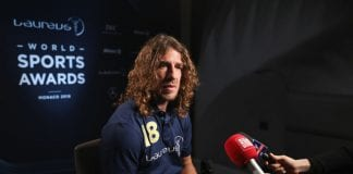 MONACO - FEBRUARY 27: Laureus Academy member Carles Puyol is interviewed prior to the Laureus World Sports Awards at the Meridien Beach Plaza on February 27, 2018 in Monaco, Monaco. (Photo by Boris Streubel/Getty Images for Laureus)