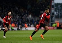 BOURNEMOUTH, ENGLAND - MARCH 17: Junior Stanislas of AFC Bournemouth celebrates scoring his side's second goal during the Premier League match between AFC Bournemouth and West Bromwich Albion at Vitality Stadium on March 17, 2018 in Bournemouth, England. (Photo by Henry Browne/Getty Images)