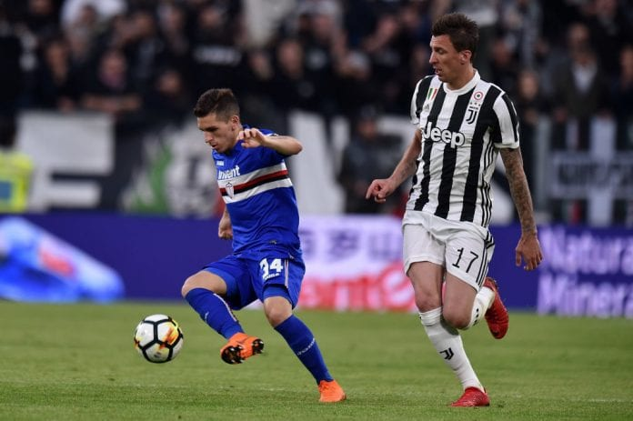 Turin Italy April  Lucas Torreira L Of Sampdoria Holds Off