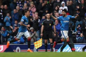 GLASGOW, SCOTLAND - APRIL 22: Candeias of Rangers celebrates after he scores his team's second goal during the Ladbrokes Scottish Premiership match between Rangers and Hearts at Ibrox Stadium on April 22, 2018 in Glasgow, Scotland. (Photo by Ian MacNicol/Getty Images)