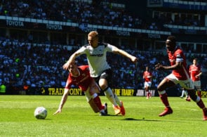 DERBY, ENGLAND - MAY 06: Matej Vydra of Derby County bursts through the Barnsley defence during the Sky Bet Championship match between Derby County and Barnsley at iPro Stadium on May 6, 2018 in Derby, England. (Photo by Tony Marshall/Getty Images)