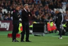 LONDON, ENGLAND - MAY 10: David Moyes manager of West Ham United and assistant Stuart Pearce during the Premier League match between West Ham United and Manchester United at London Stadium on May 10, 2018 in London, England. (Photo by Catherine Ivill/Getty Images)