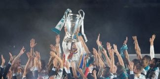 MADRID, SPAIN - MAY 27: Sergio Ramos of Real Madrid holds up the trophy during celebrations at the Santiago Bernabeu stadium following their victory last night in Kiev in the UEFA Champions League final, on May 27, 2018 in Madrid, Spain. Real beat Liverpool 3-1 in the final to lift the European Cup and Champions League for the 13th time. (Photo by Denis Doyle/Getty Images) (Photo by Denis Doyle/Getty Images)