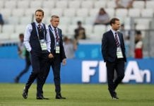 VOLGOGRAD, RUSSIA - JUNE 18: Gareth Southgate, Manager of England, Aidy Boothroyd and Dan Ashworth, FA Director of Elite Development look on prior to the 2018 FIFA World Cup Russia group G match between Tunisia and England at Volgograd Arena on June 18, 2018 in Volgograd, Russia. (Photo by Clive Rose/Getty Images)