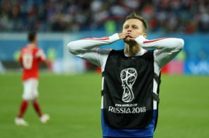 SAINT PETERSBURG, RUSSIA - JUNE 19: Denis Cheryshev of Russia celebrates following his sides victory in the 2018 FIFA World Cup Russia group A match between Russia and Egypt at Saint Petersburg Stadium on June 19, 2018 in Saint Petersburg, Russia. (Photo by Richard Heathcote/Getty Images)