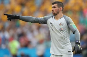 SOCHI, RUSSIA - JUNE 26: Mathew Ryan of Australia during the 2018 FIFA World Cup Russia group C match between Australia and Peru at Fisht Stadium on June 26, 2018 in Sochi, Russia. (Photo by Michael Steele/Getty Images)