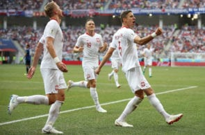 VOLGOGRAD, RUSSIA - JUNE 28: Jan Bednarek of Poland celebrates after scoring to make it 1-0 during the 2018 FIFA World Cup Russia group H match between Japan and Poland at Volgograd Arena on June 28, 2018 in Volgograd, Russia. (Photo by Julian Finney/Getty Images)