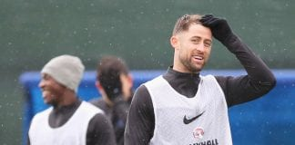 SAINT PETERSBURG, RUSSIA - JULY 06: Gary Cahill looks on during an England training session at Spartak Zelenogorsk Stadium on July 6, 2018 in Saint Petersburg, Russia. (Photo by Alex Morton/Getty Images)