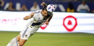 CARSON, CA - JULY 29: Zlatan Ibrahimovic #9 of the Los Angeles Galaxy heads the ball into the goal at StubHub Center on July 29, 2018 in Carson, California. (Photo by Katharine Lotze/Getty Images)
