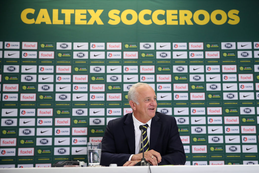 SYDNEY, AUSTRALIA - AUGUST 09: Australian Socceroos and Olyroos coach Graham Arnold speaks to the media during a press conference at the FFA Offices on August 9, 2018 in Sydney, Australia. (Photo by Cameron Spencer/Getty Images)