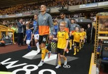 WOLVERHAMPTON, ENGLAND - AUGUST 11: Conor Coady, the Wolverhampton Wanderers captain leads out his team during the Premier League match between Wolverhampton Wanderers and Everton FC at Molineux on August 11, 2018 in Wolverhampton, United Kingdom. (Photo by David Rogers/Getty Images)