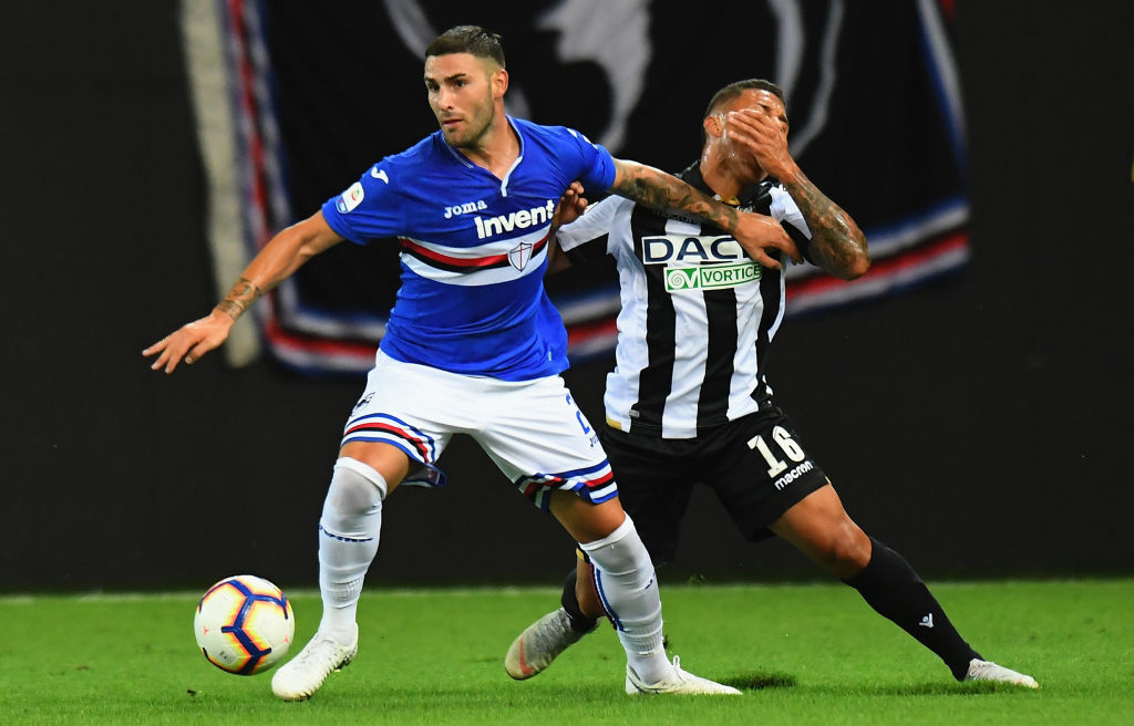 UDINE, ITALY - AUGUST 26: Nicola Murru of UC Sampdoria competes for the ball with Darwin Machis of Udinese Calcio during the serie A match between Udinese and UC Sampdoria at Stadio Friuli on August 26, 2018 in Udine, Italy. (Photo by Alessandro Sabattini/Getty Images)