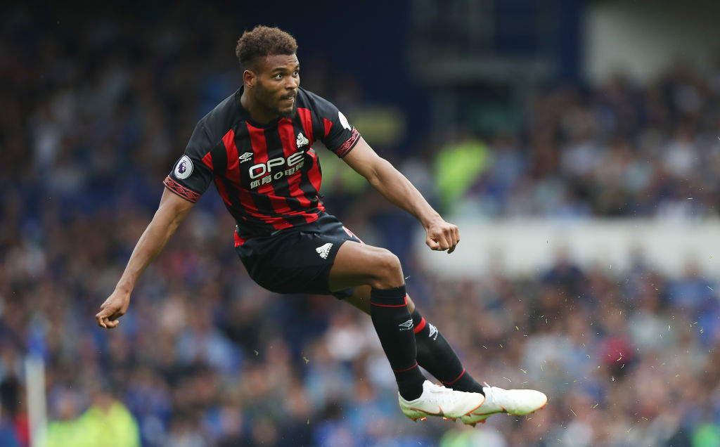 LIVERPOOL, ENGLAND - SEPTEMBER 01: Steve Mounie of Huddersfield Town controls the ball during the Premier League match between Everton and Huddersfield Town FC at Goodison Park on September 1, 2018 in Liverpool, United Kingdom. (Photo by Ian MacNicol/Getty Images)