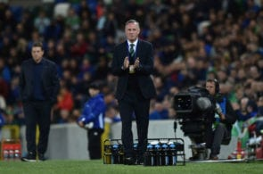 BELFAST, NORTHERN IRELAND - SEPTEMBER 11: Northern Ireland manager Michael O'Neill claps during the international friendly football match between Northern Ireland and Israel at Windsor Park on September 11, 2018 in Belfast, Northern Ireland. (Photo by Charles McQuillan/Getty Images)